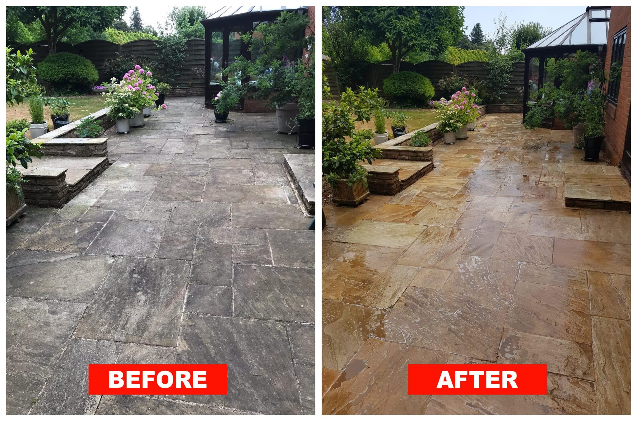 softwashing patio cleaning in Cardiff